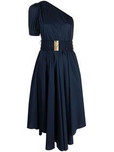 Michael Michael Kors расклешенное платье на одно плечо с поясом