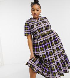 Клетчатое платье миди из жатого хлопка со сборками, присборенной юбкой и воротником COLLUSION Plus-Многоцветный