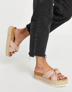 Бежевые сандалии на платформе с узлами ASOS DESIGN Teegan-Нейтральный