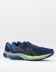 Синие с черным кроссовки Asics Running Gel Cumulus 22-Черный цвет