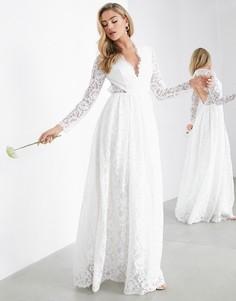 Кружевное свадебное платье с V-образным вырезом и открытой спиной ASOS EDITION Penelope-Белый