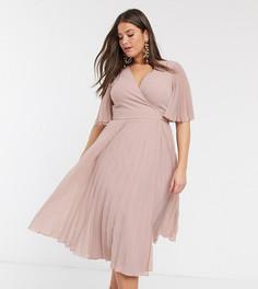 Плиссированное платье миди с рукавами кимоно и поясом эксклюзивно для ASOS DESIGN Curve-Розовый цвет