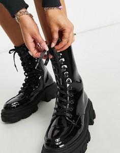 Черные массивные ботинки на шнуровке ASOS DESIGN Acoustic-Черный цвет