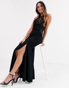 Черное платье макси с завышенной талией и кружевным топом Lipsy-Черный