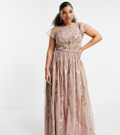 Сетчатое платье макси с цветочной вышивкой и пайетками ASOS DESIGN Curve-Многоцветный