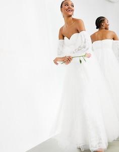 Свадебное платье из сетчатого материала с вышивкой и спущенными плечами ASOS EDITION Mila-Белый