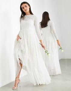 Свадебное платье с отделкой и широкой юбкой ASOS EDITION Dominique-Белый