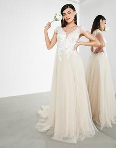 Светло-бежевое сетчатое свадебное платье с вышитым лифом и короткими рукавами ASOS EDITION Josie-Нейтральный