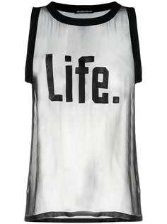 Ann Demeulemeester прозрачная футболка с нашивкой Life