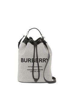 Burberry сумка-тоут с кулиской и принтом Horseferry