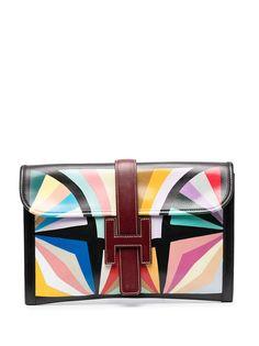 Hermès клатч Jige pre-owned с геометричным принтом Hermes