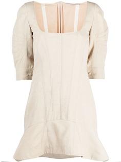 Stella McCartney платье с оборками и квадратным вырезом