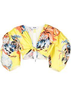MSGM укороченная блузка с принтом