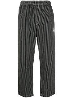 Stussy брюки в тонкую полоску с вышитым логотипом