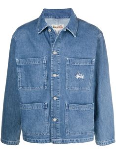 Stussy джинсовая рубашка с логотипом