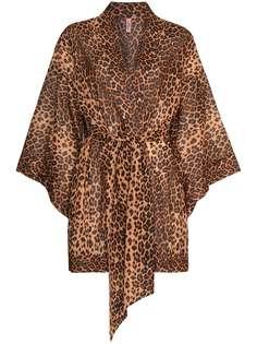 Agent Provocateur короткий халат Kittie с леопардовым принтом