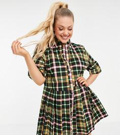 Плиссированное платье-рубашка мини в многоцветную клетку COLLUSION Plus-Многоцветный