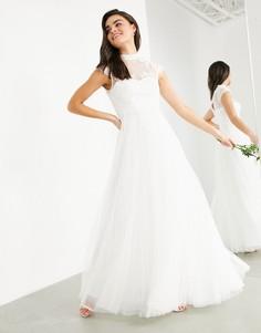 Свадебное платье с вышивкой на лифе и короткими рукавами ASOS EDITION Bronte-Белый