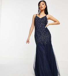 Изысканное платье макси темно-синего цвета с отделкой пайетками иподолом годе Maya Petite-Темно-синий