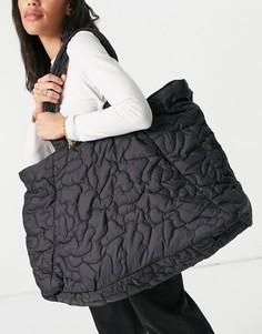 Большая черная стеганая сумка Selected Femme-Черный цвет