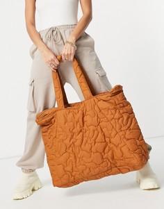Большая коричневая стеганая сумка Selected Femme-Коричневый цвет