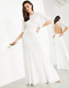 Свадебное платье в винтажном стиле с расклешенными рукавами ASOS EDITION Gabriella-Белый