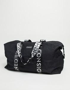 Черная большая спортивная сумка с лентой Consigned-Черный цвет