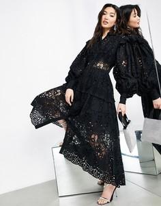 Черное платье-рубашка с вышивкой ришелье ASOS EDITION-Черный цвет