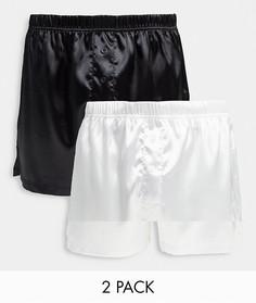 Набор из 2 атласных трусов-боксеров черного и белого цвета ASOS DESIGN-Многоцветный