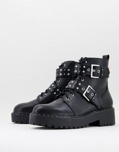 Черные ботинки с шипами на массивной подошве Pimkie-Черный цвет