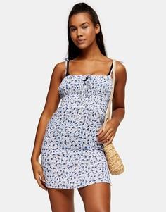 Пляжное присборенное платье мини синего цвета с цветочным принтом Topshop-Голубой