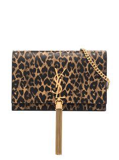 Saint Laurent сумка на плечо Kate с леопардовым принтом