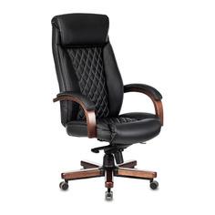 Кресло руководителя БЮРОКРАТ T-9924WALNUT, на колесиках, кожа, черный [t-9924walnut/black]