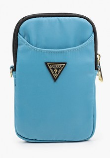 Сумка Guess для смартфонов, Nylon phone bag with Triangle metal logo Light blue
