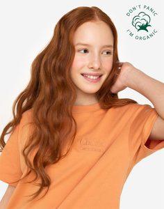 Коричневая футболка из органического хлопка с вышивкой для девочки Gloria Jeans