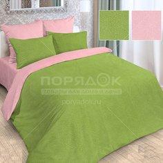 Постельное белье Love Story 1.5-спальное полисатин жаккард (простыня 150х215 см, 2 наволочки 70х70 см, пододеяльник 145х215 см) розово-зеленое