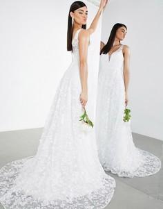 Свадебное платье без рукавов с вышивкой и глубоким вырезом ASOS EDITION Florence-Белый