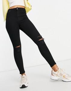 Черные зауженные джинсы с высокой посадкой и рваными коленями Bershka-Черный цвет