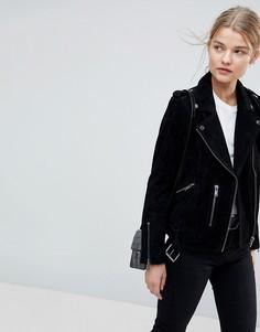 Черная замшевая куртка Selected Femme-Черный цвет