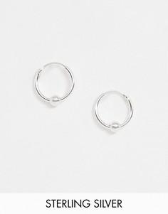 Маленькие серьги-кольца диаметром 14 мм из стерлингового серебра с шариком Kingsley Ryan-Серебряный