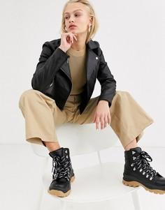 Черная кожаная куртка Selected Femme-Черный цвет