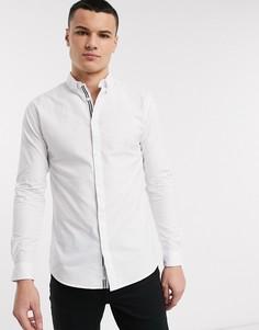 Белая приталенная оксфордская рубашка River Island-Голубой