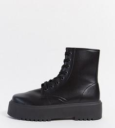 Черные ботинки на массивной подошве ASOS DESIGN Wide Fit Attitude 2-Черный цвет