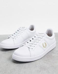 Белые кожаные кроссовки с золотистой отделкой Fred Perry B721-Белый