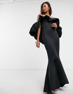 Черное платье макси на бретельках с баской и объемной присборенной отделкой ASOS DESIGN Premium-Черный