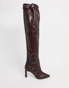 Черные ботфорты из премиум-кожи со змеиным принтом на среднем каблуке ASOS DESIGN Kenzie-Коричневый цвет