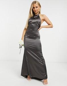Серое атласное платье макси с халтером TFNC-Коричневый