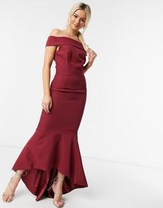 Бордовое платье годе с вырезом лодочкой Chi Chi London-Красный