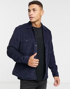 Свободная вельветовая рубашка темно-синего цвета Selected Homme-Темно-синий