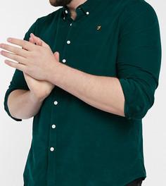 Темно-зеленая приталенная рубашка из мелкофактурного вельвета с логотипом Farah Fontella-Зеленый